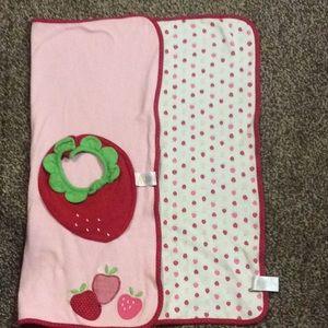 Gymboree Strawberry Receiving Blanket w/ Bib